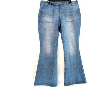 18 Lane Bryant Mid Rise Boot Cut Jean Light Rinse
